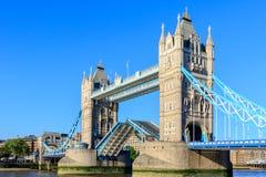 Tower Bridge in London with Drawbridge Open Royalty Free Stock Image