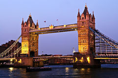 Tower bridge in London at dusk Royalty Free Stock Photo