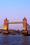 Tower bridge in London at dusk Royalty Free Stock Photos