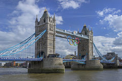 Tower Bridge. LONDON, ENGLAND - AUGUST 2012; Tower bridge during the Olympic Games Stock Image