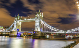 Tower Bridge in London England. Being light with street lights and bridge lights famous tourist  place and river Thames Royalty Free Stock Image