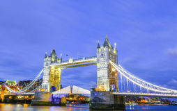 Tower Bridge in London England City of London. Tower Bridge in London England being light with street lights and bridge lights famous tourist  place and river Stock Photo