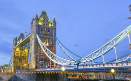Tower Bridge in London England City of London. Tower Bridge in London England being light with street lights and bridge lights famous tourist  place and river Royalty Free Stock Images