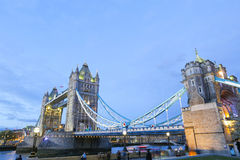 Tower Bridge in London England City of London. Tower Bridge in London England being light with street lights and bridge lights famous tourist  place and river Royalty Free Stock Image