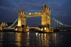 Tower Bridge, London, England, UK, Europe, at dusk. Tower Bridge, London, England, UK, Europe, illuminated at dusk from the south west bank of the thames royalty free stock image
