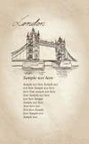Tower Bridge, London, England, UK. Old-fashioned background Stock Images