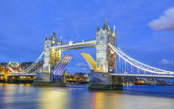 Tower Bridge London. Tower Bridge in London at evening time with lights on stock photos