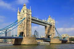 Tower Bridge in London. Famous London Tower Bridge over the River Thames on a sunny day stock image