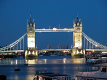 Tower Bridge, London. Full View Tower Bridge at night, London, UK, 2005 Royalty Free Stock Images