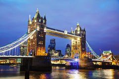 Tower bridge in London, Great Britain. At the night time Royalty Free Stock Photos