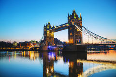 Tower bridge in London, Great Britain at sunrise Royalty Free Stock Image
