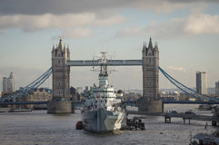 Tower Bridge London. With HMS Belfast in foreground Royalty Free Stock Photo
