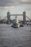Tower Bridge London. With HMS Belfast in foreground Royalty Free Stock Image