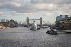 Tower Bridge London. With HMS Belfast in foreground Royalty Free Stock Photography