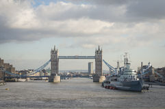 Tower Bridge London. With HMS Belfast in foreground Stock Photos