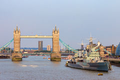 Tower Bridge London HMS Belfast Stock Image