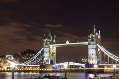 The Tower bridge in London illuminated at night.  Royalty Free Stock Image