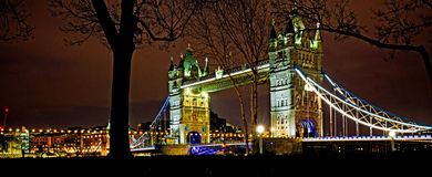 Tower Bridge in London illuminated at night Stock Photography