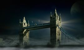 Tower Bridge, London, Moon, Fog Royalty Free Stock Images