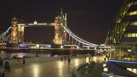 Tower Bridge London from More London Riverside London England 2016. Tower Bridge London from More London Riverside LONDON,ENGLAND FEBRUARY 20, 2016 stock footage