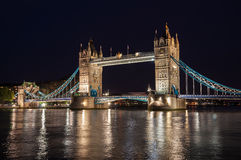 Tower Bridge in London at night Royalty Free Stock Photo