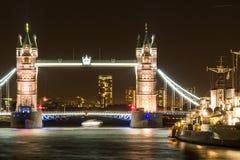 Tower Bridge London at Night Stock Image