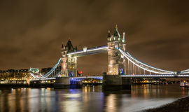 Tower Bridge of London by night Stock Images
