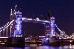 Tower Bridge London at night on River Thames. Stunning view of Tower Bridge in London Royalty Free Stock Photo