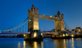 Tower Bridge in London at night scene stock image