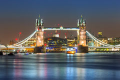 Tower Bridge in London at night Stock Images