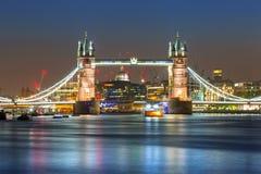Tower Bridge in London at night. UK Stock Images