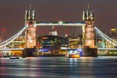 Tower Bridge in London at night. UK Stock Image