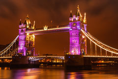 Tower Bridge in London at night. Royalty Free Stock Images
