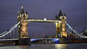 Tower Bridge in London night view stock video footage