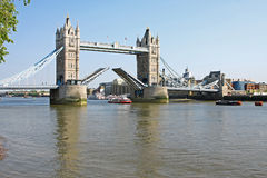 Tower bridge in London open Royalty Free Stock Photos