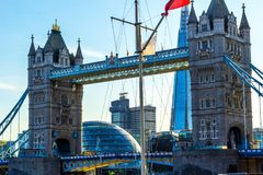 Tower Bridge in London with other buildings, close up view. United Kingdom stock photo