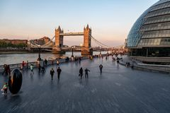 Tower Bridge in London with people Royalty Free Stock Photo