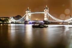 Tower Bridge of London in the Rainy Night Royalty Free Stock Photo