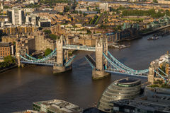 Tower Bridge in London with Raised Bridge Royalty Free Stock Image