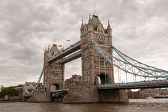 Tower Bridge in London. Tower Bridge and the River Thames of cloudy sky background Stock Photography