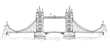 Tower bridge in London, sketch collection, Buckingham palace gate Stock Photo