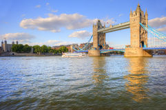 Tower Bridge London on sunnny day. London's Tower Bridge bathed in sunlight on a bright Summer's day royalty free stock image