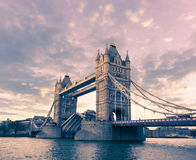 Tower Bridge in London on a sunset Stock Image