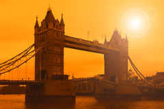 Tower Bridge in London, sunset Stock Images