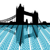 Tower Bridge with London text. Tower Bridge reflected with London text illustration Royalty Free Stock Photography