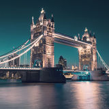 Tower bridge in London, toned image stock photos