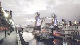 Tower Bridge London. By night with lights vector illustration