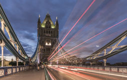Tower Bridge, London, with traffic light trails Royalty Free Stock Photo