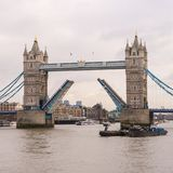 Tower Bridge, London with two halves of bridge raised. Ready for larger ships to pass through Royalty Free Stock Image