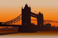 Tower Bridge in London, UK. Illustration of Tower Bridge in London at sunset Stock Images